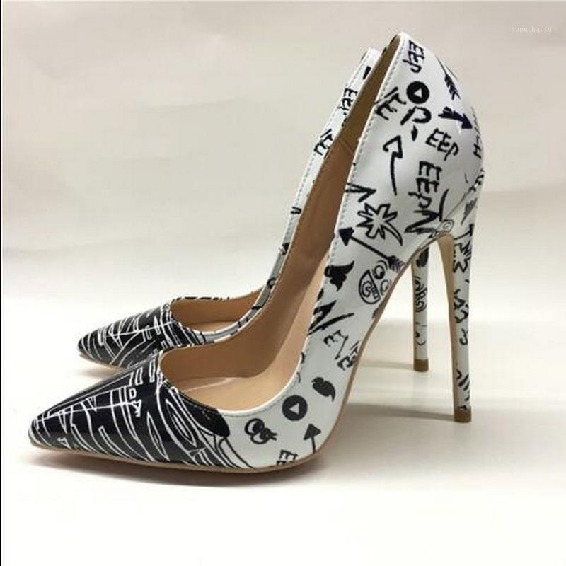 Marque Mode NOUVEAU Pointé High-High-High-Heeled Graffiti Black and White Graffiti élégant chaussures simples 12cm Haute talon Heel Fête Soirées1