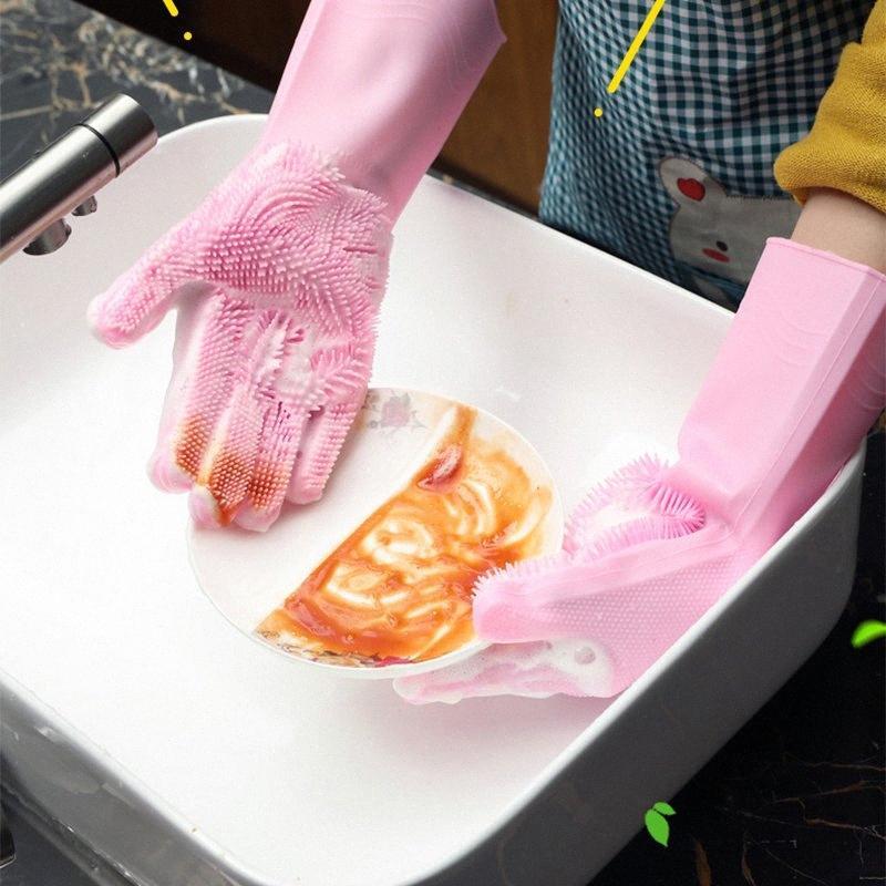 Очистка перчатки кухни Силиконовые тарелки скруббер перчатки Магия Посудомоечная перчатки для бытовой скруббер PPg4 #