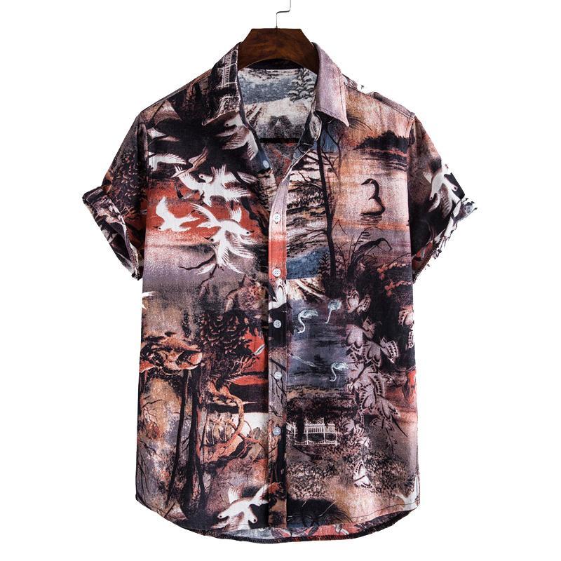 England Style Print Herren Sommer Strand Kurzarm Hemden Männer Casual Hawaiianisches Übergröße Aloha-Hemd Lose Feiertags Camisas Q0104