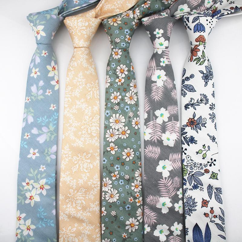 وصل 2020 العلامة التجارية الجديدة زهرة القطن التعادل للرجال 6CM ديزي أوراق مطبوعة رجال ملون Cravate تضييق نطاق سميكة العنق