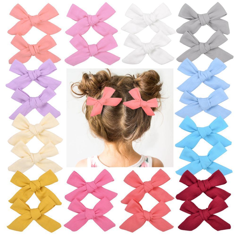 2pcs / set Katı Pamuk hiar Yaylar ile For Bebek Kız Butik El yapımı Klip hairgrip Tokalarım Saç Acesssories 056
