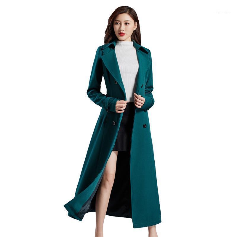 Formallas de mujer Abrigos de moda Largo Cortavientos Damas Outdoor Spring Spring Otoño Casual Plus Tize Double Breasted Belt Slim Black Coat1