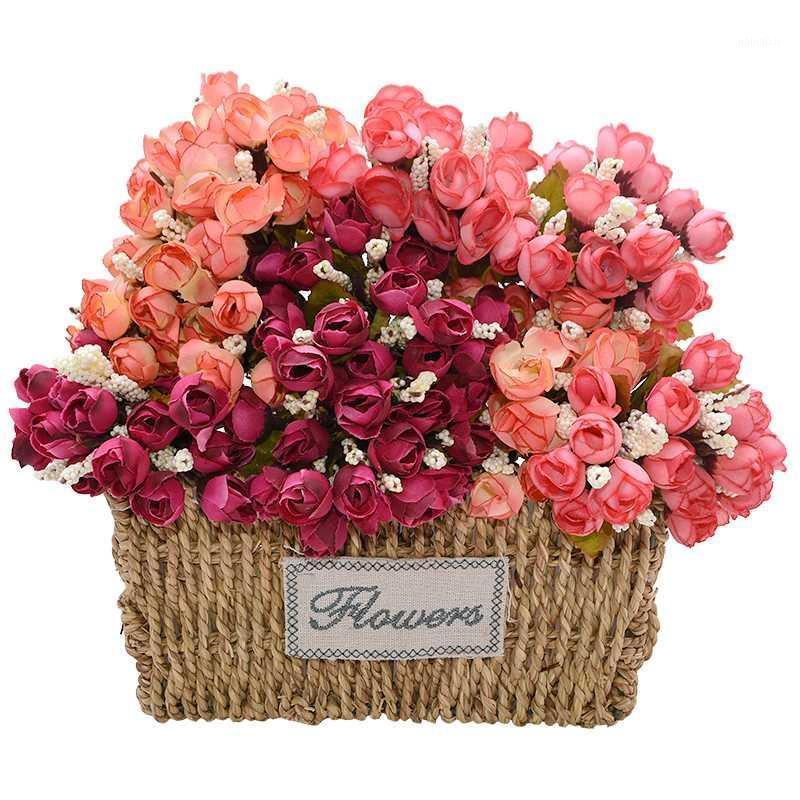 2 Buket Vintage Yapay İpek Gül Çiçekler 2 cm Küçük Tomurcuk Buket DIY Düğün Ev Noel Dekor Çiçekler Gül Hediye1
