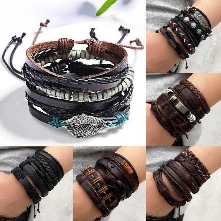Европейская и американская мода 5 штурок Мужская тканая кожаный браслет Регулируемый костюм Браслет Производители Прямое пятно Оптом