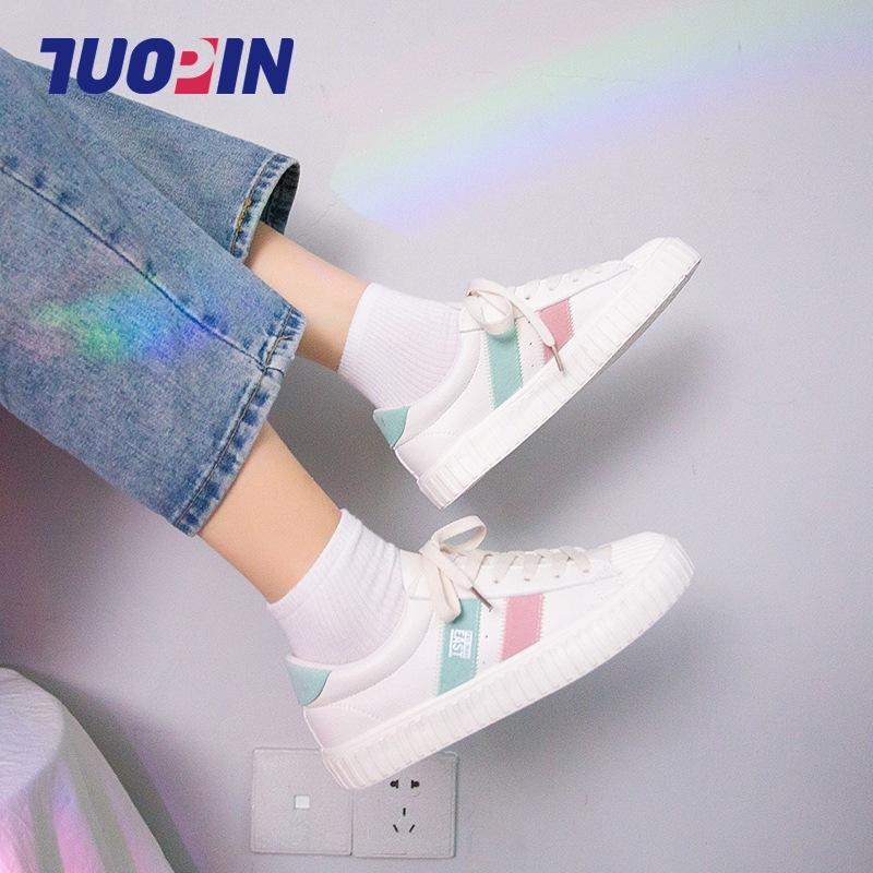 Designer Damenschuhe beiläufige weißen Schuhe Frauen Fall atmungsaktiv New Skate Schuh-bequeme Art und Weise Petze-Weg im Freien Günstige