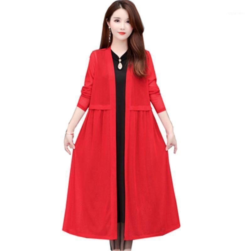 Plus taille 5XL vin rouge long cardigan pull femmes 2020 nouveau printemps automne casual épais pull tricoté tricoté femelle sommets pz31081