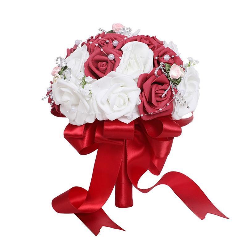 Flores decorativas Grinaldas de seda artificial Rosas Pérola Buquê de casamento Buquê de noiva Falso para decoração de acessórios em casa