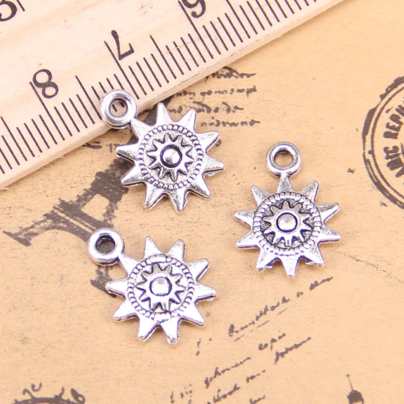 126pcs Jewelry Charms Sun 17x12mm Antiguo Colgantes plateados plateados Haciendo DIY Joyería de plata tibetana hecha a mano