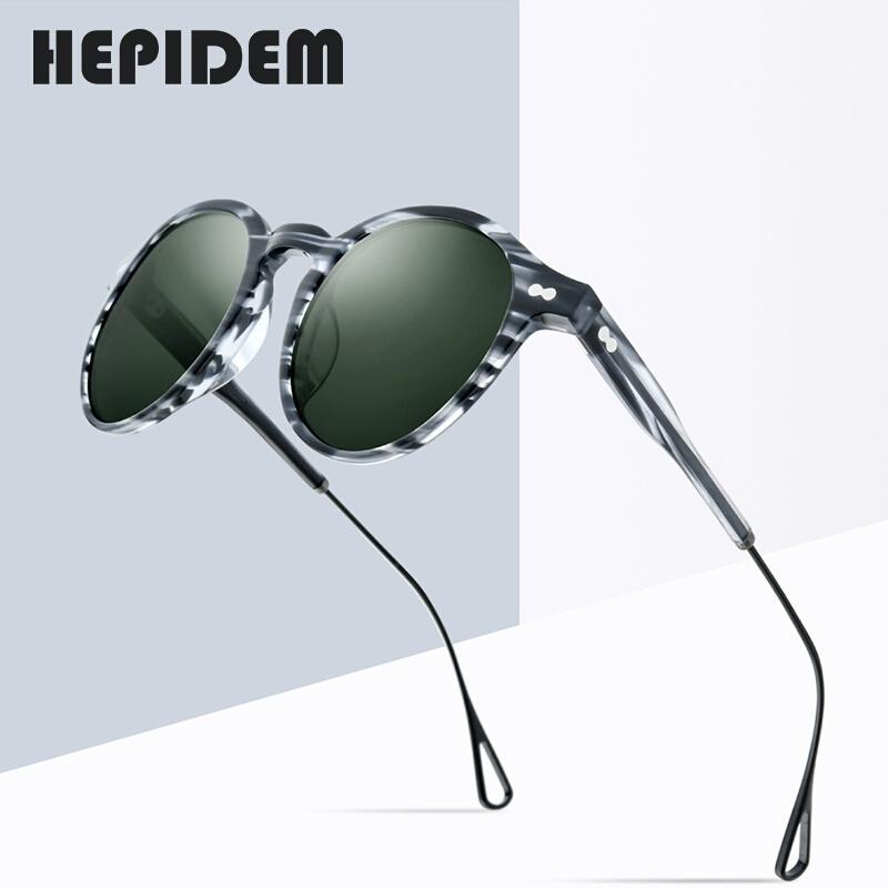 Men 9121 için HEPIDEM Asetat Polarize Güneş Gözlüğü Kadınlar 2020 Yeni Marka Tasarımcı Yüksek Kalite Retro Vintage Yuvarlak Güneş Gözlükleri