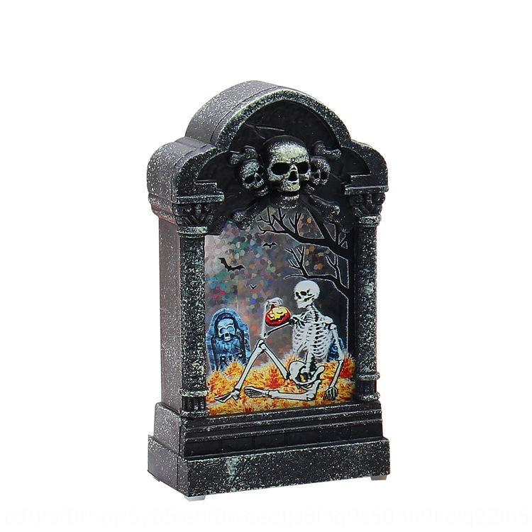 nFOj1 lumineux créatif Veilleuse hantait salle de pierre tombale Halloween Bar créatif pierre tombale barre de Veilleuse de hantait