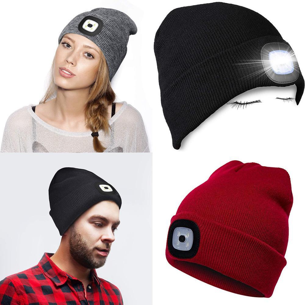 Зимний Открытый Led Hat Теплый Вязаная шапочка с легкими DY64