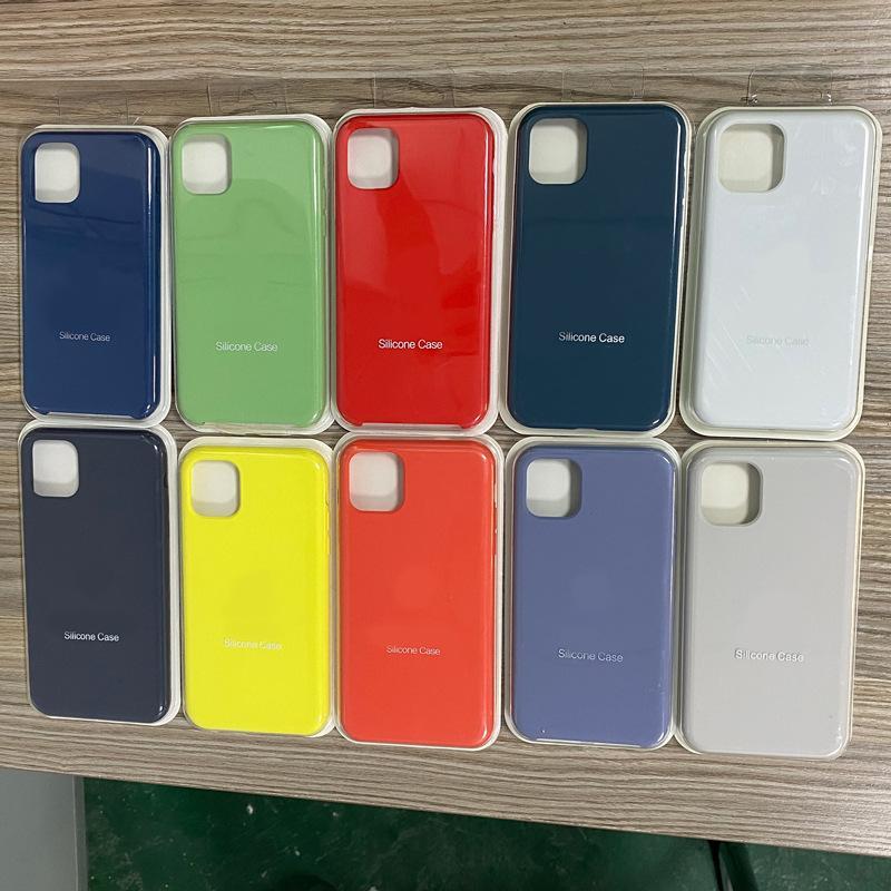 Não cobertura total líquido Oficial Gel de silicone sólido caso capa para iphone 12 mini-12 pro 50pcs max / lot BLISTER