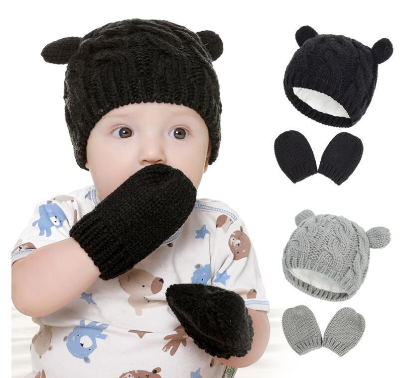 Winter Hat For Baby Girl Warm Newborn Accessories Kids Knit Cap 4 Colors Winter Hat For Kids With Gloves Infant Ear wmtWhP dh_garden