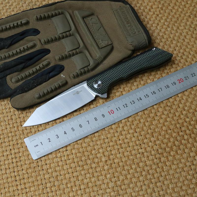 TWO SUN TS76 Tactical Flipper ball brearing folding knife titanium handle D2 blade camping hunting Pocket knives outdoor Survival EDC Tools