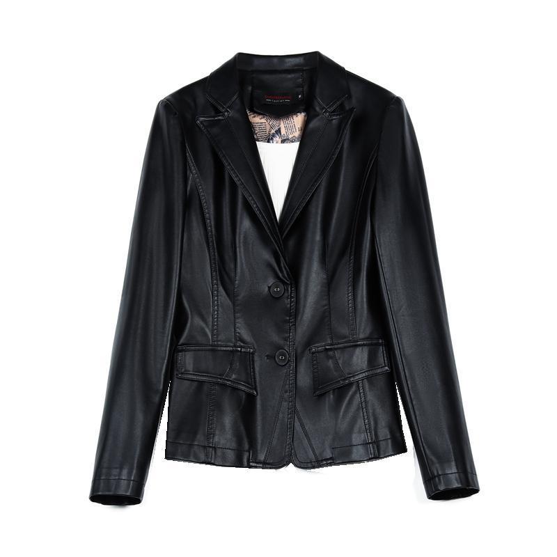 Cuero de mujer Faux de lujo de gamuza de gamuza de lujo Spring Otoño Mujeres Slim Moto Outerwear Trajes de vestir Garment Plus Tamaño LF2005