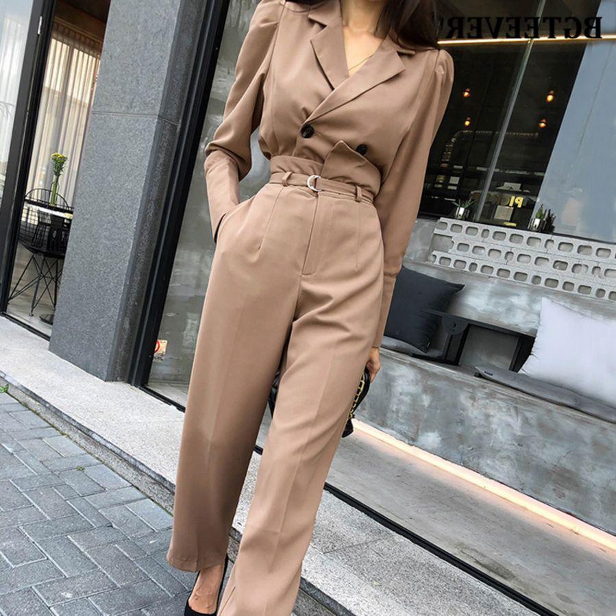 2 BGTEEVER Zarif Parçalar Set Tam Kollu Kısa Blzer Uzun Kuşaklı Pantolon Chic Kadınlar Pantolon Suit 2020 Ofis Bayanlar Blazer Suits