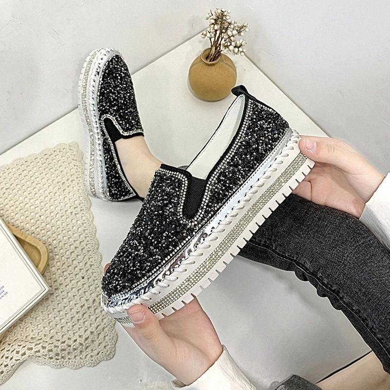 Femmes Seauins Plateaux Slip sur Printemps Automne Mocafers Solid Couleur Plate-forme Casual Rond Toile Femmes Chaussures Flats Madame Loafer # HU46