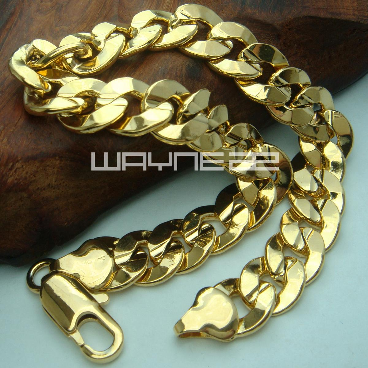 18k yellow Gold GF mens ladies solid bracelet bangle ring links chain B145