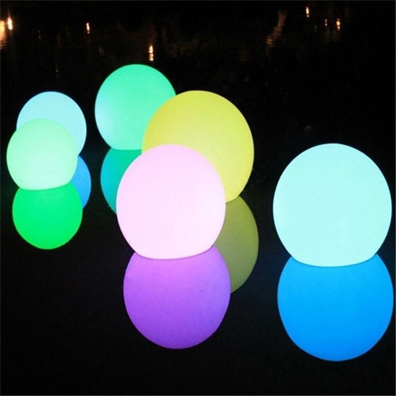 Piscina LED à prova d 'água Lâmpada de bola flutuante Lâmpada RGB Indoor Home Jardim KTV Bar de Casamento Decorativo Feriado Iluminação 201127