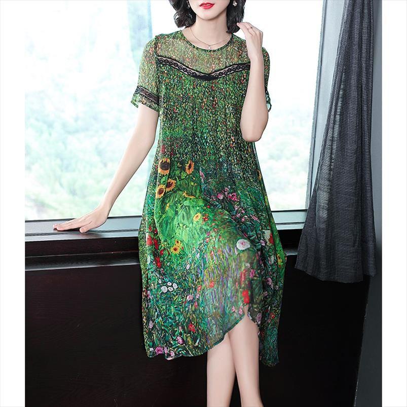 Robe de soie verte de paon vintage imprimée florale robes d'été plus taille m 3xl robe dentelle couture robe à manches courtes