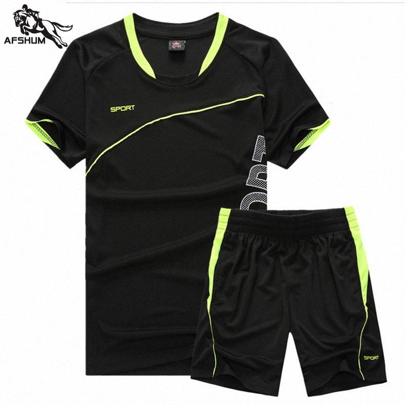 Yaz Casual Erkek Eşofman Erkek Giyim Spor Seti Erkek eşofman Kısa Kollu T-shirt + şort 2 Adet Hızlı Kurutma Seti 1701 fi0f #