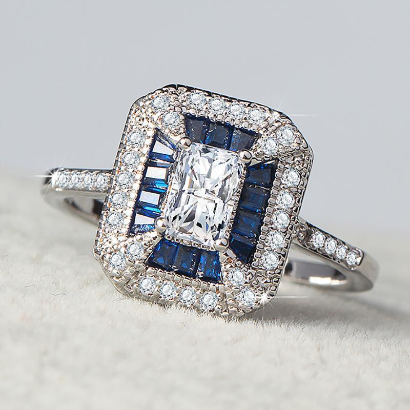 Mode féminine Cadeaux de bijoux de mariage carré blanc Zircon Anneaux Cour Style rétro bleu Incrusté zircon anneaux pour l'engagement Anel