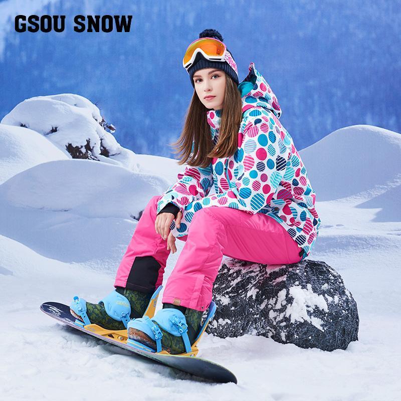 Gsou kar dalga noktası, çift snowboard takım elbise, rüzgar geçirmez, su geçirmez, kalınlaşma, sıcaklık, Kore