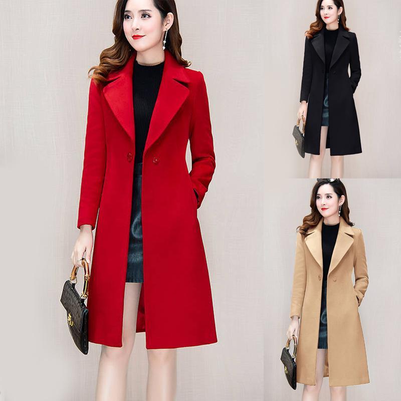 2020 Kadınlar Yün Palto Kadın Orta Boy Üzeri Diz Sonbahar Kış Bel Suit yaka Kırmızı Yün Siyah Haki CoatX1016