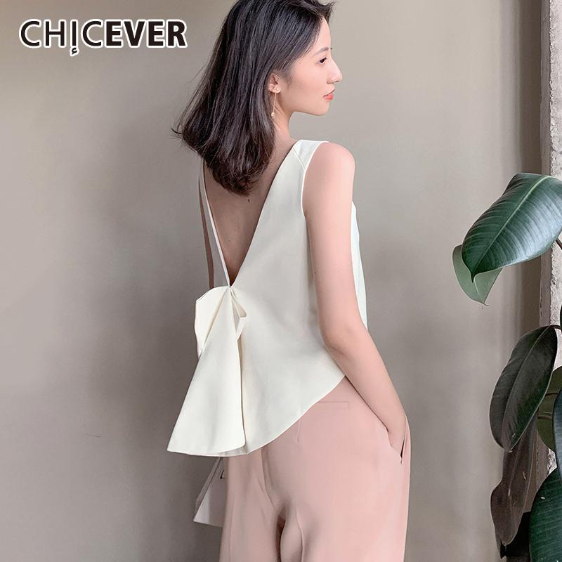 Hasta Bowknot de las mujeres CHICEVER coreana del chaleco del cordón del cuello de O del tanque Backless sin mangas de gran tamaño sueltos Mujer chalecos moda de Nueva 201009