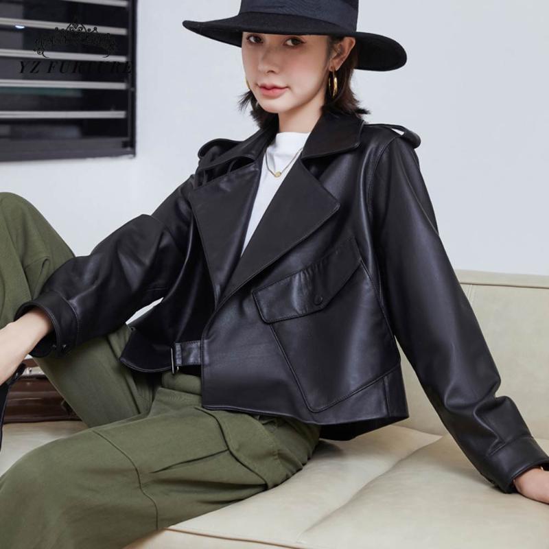 새로운 진짜 정품 가죽 코트 양피 여성 겨울 패션 캐주얼 가죽 코트 여성용 Outwear 자켓 Overcoat 숙녀