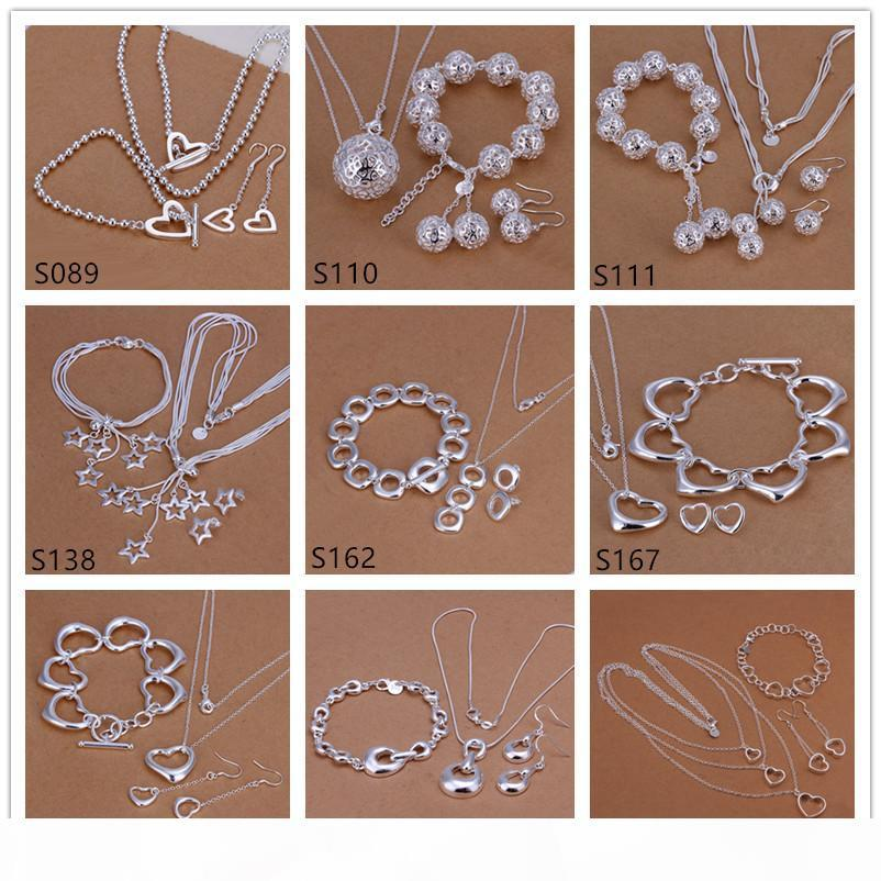 Großhandel frauen sterling silber schmuck sets 6 setzt viel gemischt stil ems50, mode 925 silber halskette armband ohrring schmuck set