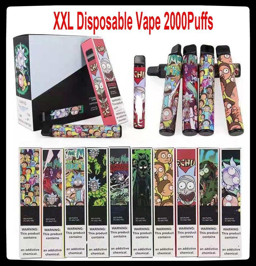 XXL Disposable Vape 2000Puffs 800mAh Power Battery Pre-filled 6ml Pods Cartridges Vapor e Cigarette Portable Vaporizer Puff XXL
