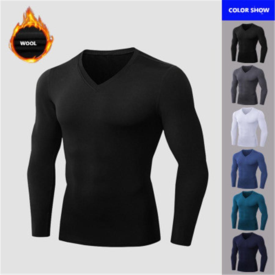 2020 Novo Running Camiseta Para Homens Quente Inverno Fitness Gym Gym Camisa Respirável Ao Ar Livre Sportswear Meninos Preto Basketball Roupas XXL