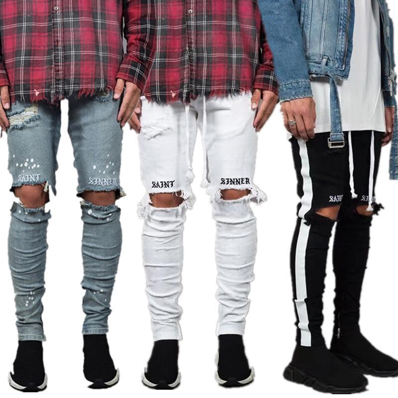 Yeni Moda Erkek Kot Serin Streetwear Siyah Delik Beyaz Çizgili Kot Hip Hop Kaykay Kalem Pantolon