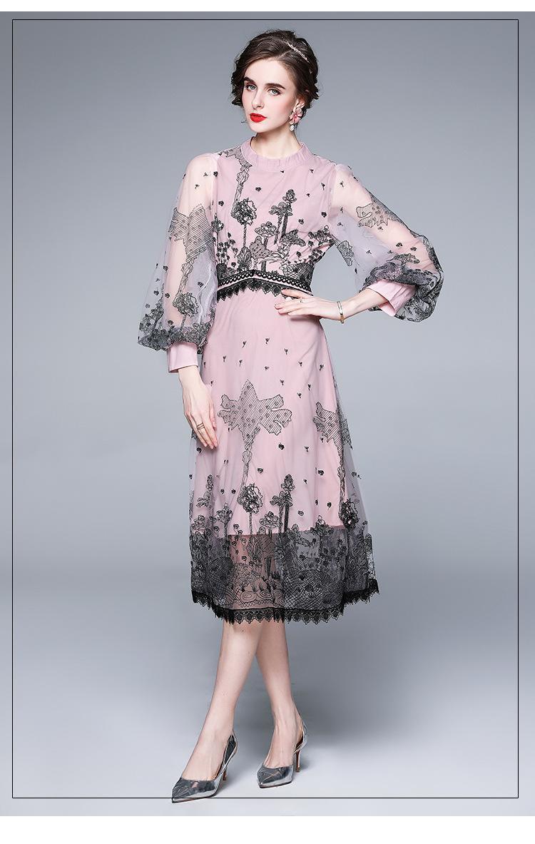 2021 Fashion Elegant Mesh Robe de femme, dame et fille Embrocrodyery Robes de Stand Robe à manches longues