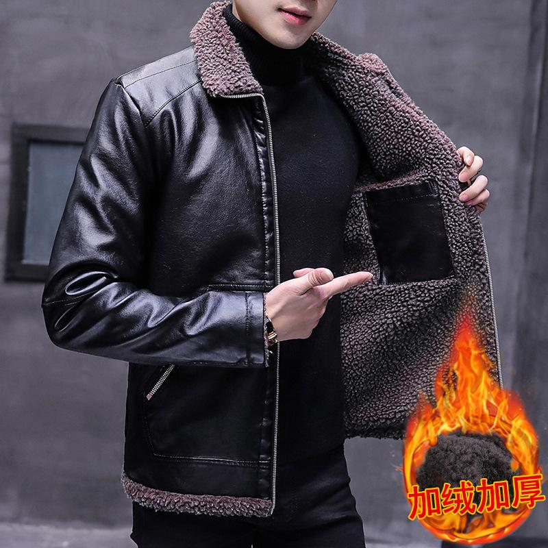 Tendance Flanelle Collier en Pu PU PU Tour chaud Cuir Suit Veste de moto d'hiver pour hommes Nouvelle veste de moto