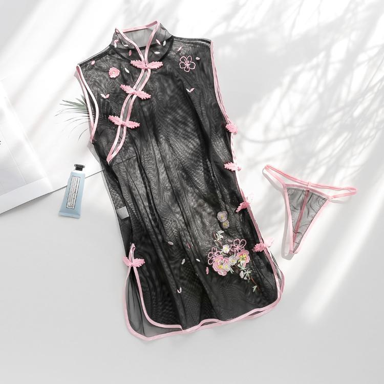 Ретро китайский Cheongsam Сексуальное белье Вышивка цветок жаккарда Higher Open Пролитая Эротический Nightdress Sexy пижамы