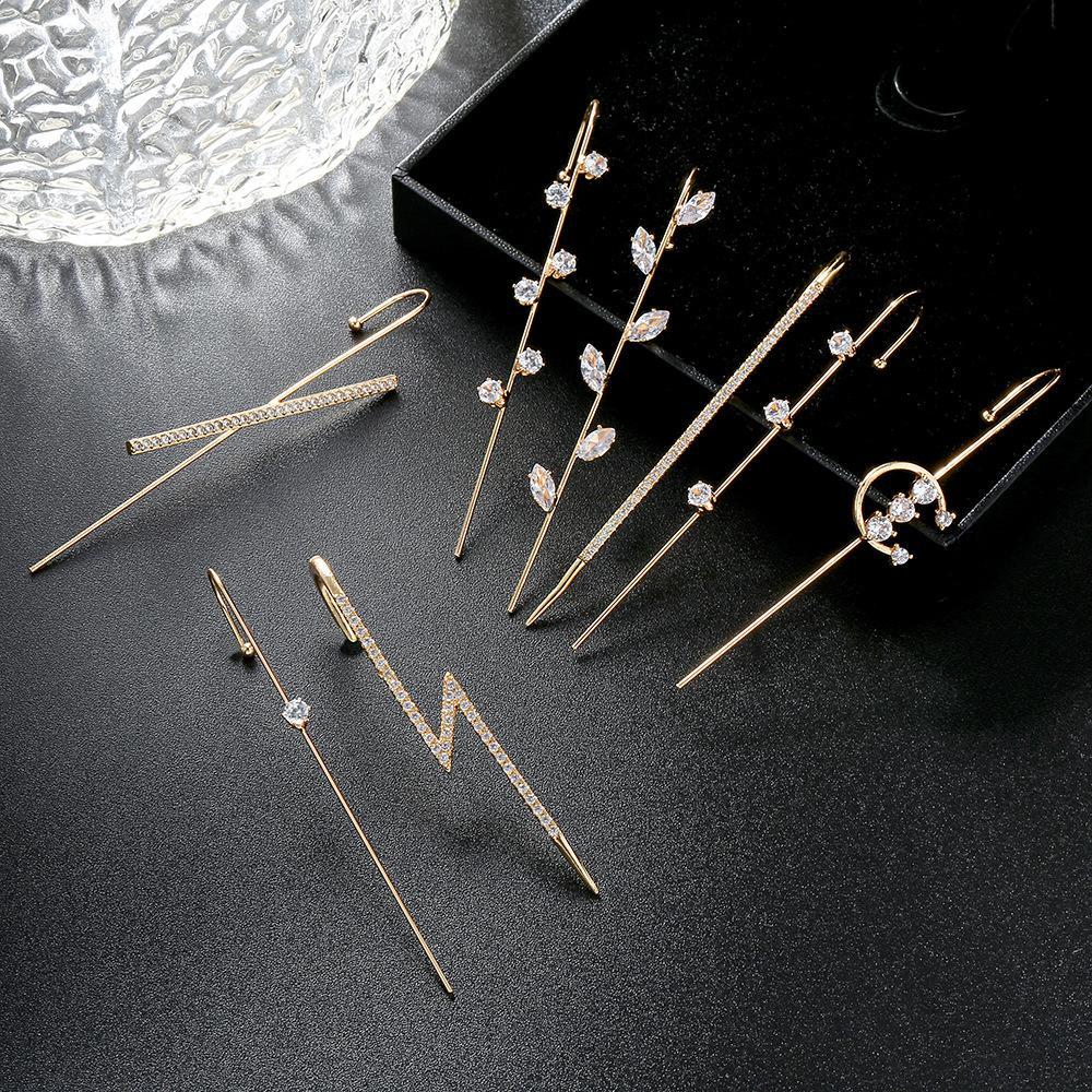 크롤러 후크 귀걸이 여성용 패션 피어싱 등산객 귀걸이 라인 석 귀 팔목 쥬얼리 웨딩 선물 Kimter-C522FZ
