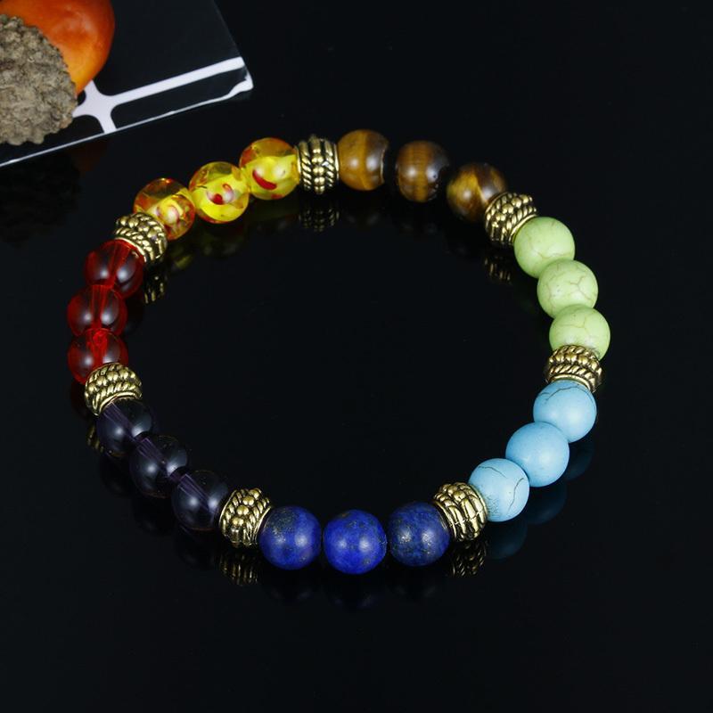 Factory Price Price женщин натуральный камень черный для лавовых браслетов 7 чакра целебный молитвенный баланс бусы браслет стрейч Йога р