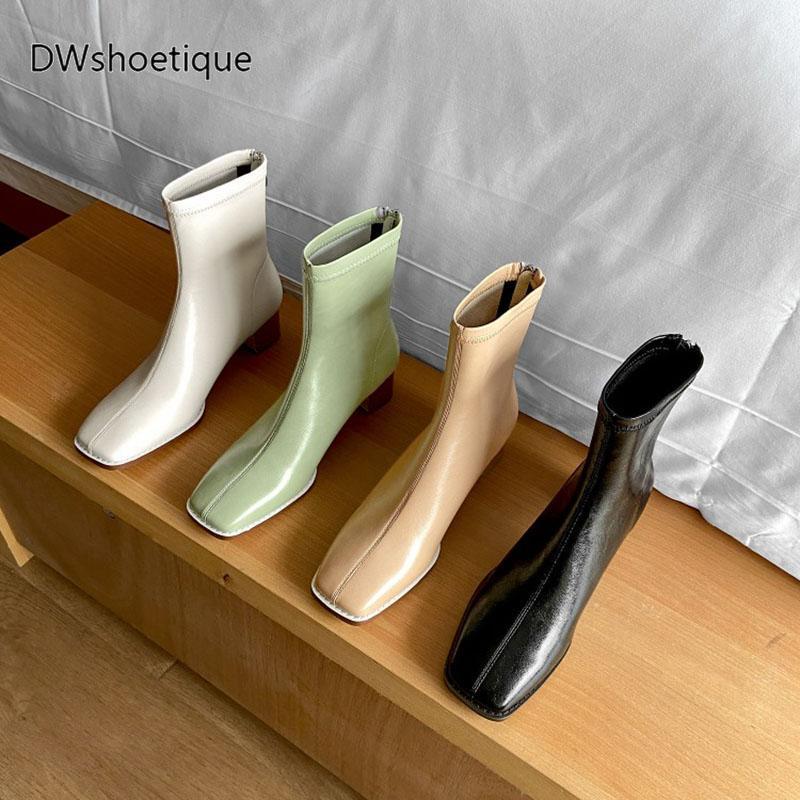 Inverno genuino stivali di pelle delle donne caviglia punta quadrata delle donne tacco grosso stivaletti