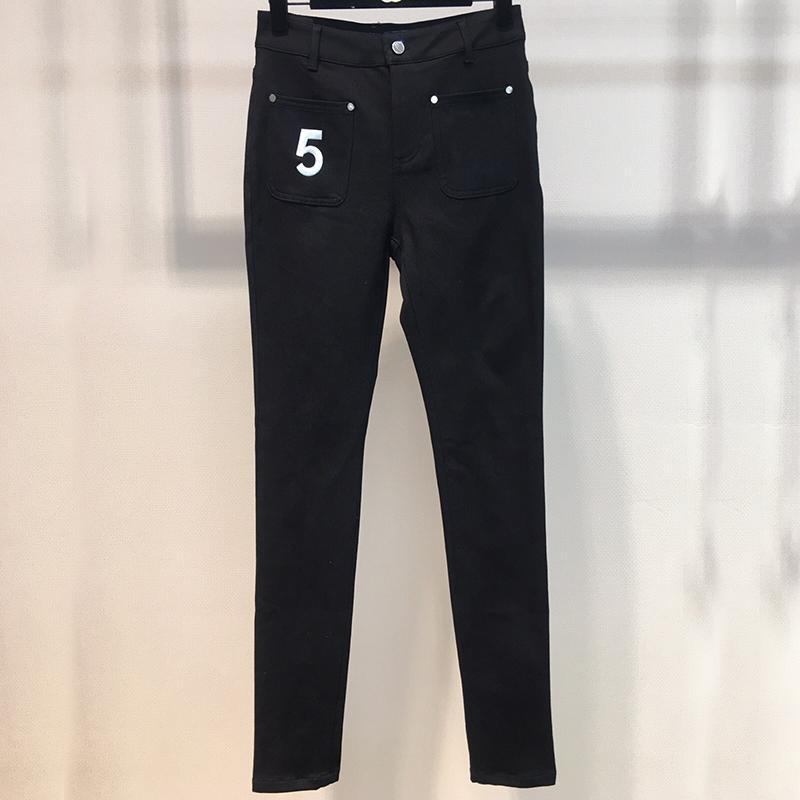 Pantaloni a matita Grand Designer per le donne Fodera di alta qualità che affollano le tasche a bottone ad alta vita moda pantaloni neri per lady 2021