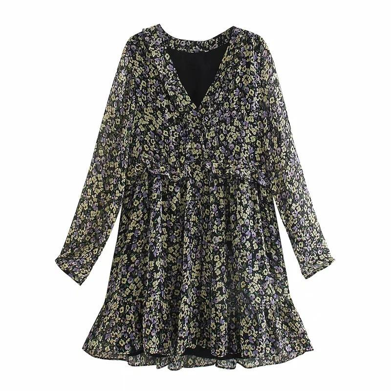 Frauen Blumendruck Chiffon V-Ansatz mit Rüschen besetzte Minikleid Weinlese Femme Lange Ärmel Kleider beiläufige Dame Loose Kleidung Vestido D6537