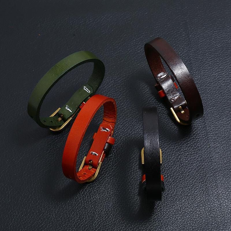 Braceletes de cinto de relógio de couro genuíno para mulheres homens várias cores preto marrom verde laranja laranja pulseira de couro bangleq1228