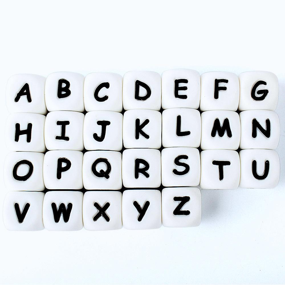 100pcs Letter Silicone Beads 12mm Baby Teether Beads Chewing Alphabet Bead For Personalized Name DIY Teething 201124