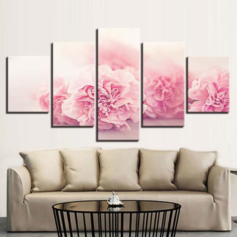 Home Decor Leinwand-Malerei HD Druck 5 Stück Rosa Blumen Wandkunst-Nacht Hintergrund Modular Bilder Grafik Kreative Poster