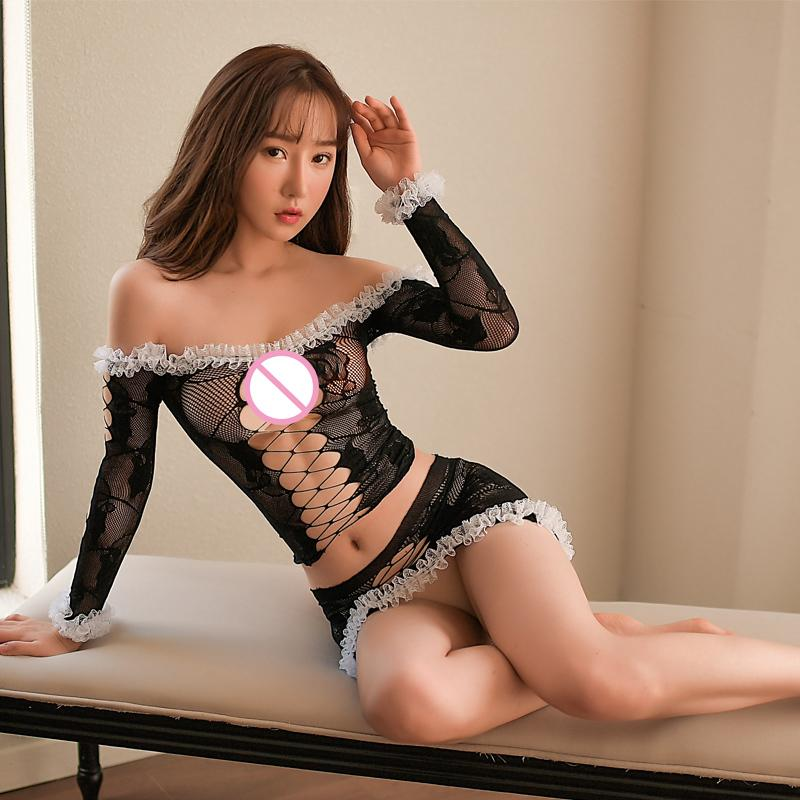 Tenu Frauen Dessous Maid Uniform Kostüme Rolle heiße sexy Unterwäsche Schöne Frauen Schwarze Rand Erotik Anzug Porno Sexi