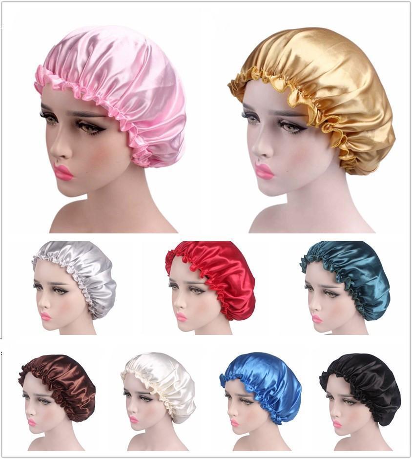 Самый дешевый шелковый атлас сна Cap Сплошной цвет дышащий Бандана Ночь Спящий тюрбан Hat Headwrap Bonnet женщин крышка головки для ухода за волосами