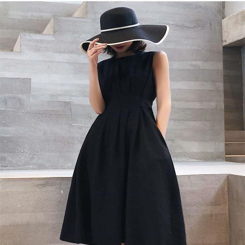 2020 Мода лето Женщины Сплошной Элегантный вскользь платье партии O шеи рукавов Tank Sundress Женский Vestidos