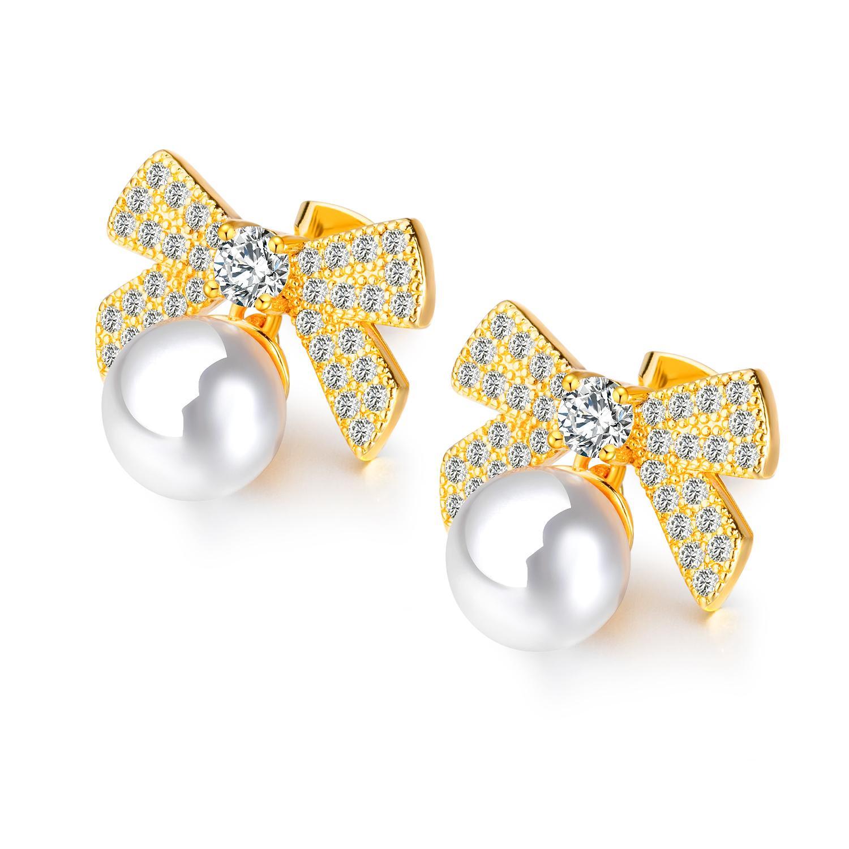 FAMI Perle Mini Bow Boucles d'oreilles Tempérament accessoires INS sauvage Stud New coréenne transfrontalière bijoux d'Asie du Sud-Est