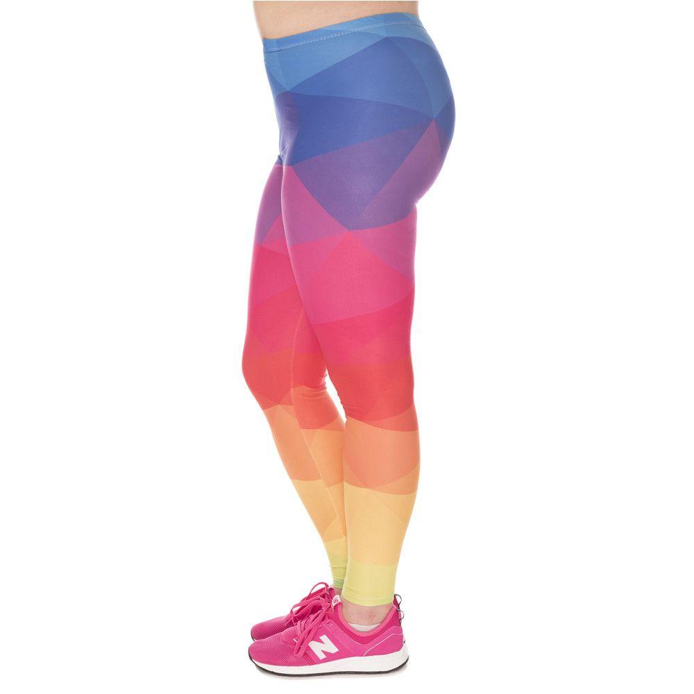 La moda de gran tamaño Leggings Triángulos del arco iris Impreso de alta de la cintura Leggins tamaño extra grande de los pantalones del estiramiento pantalones para las mujeres regordetas LJ201007